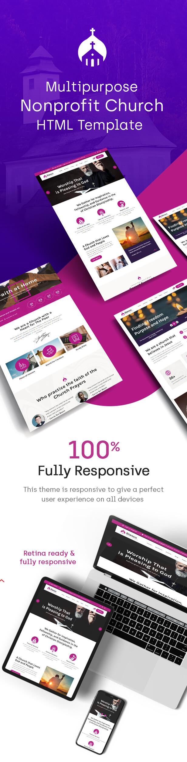 Blesso | Multipurpose Nonprofit Church HTML Template - 1